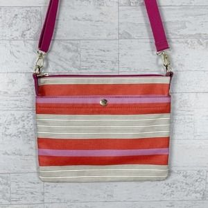 Fossil striped flat coated canvas crossbody bag